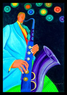 Ivey Hayes Art Work      WHITE SAX PLAYER