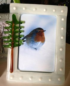 """Winter white shows off any picture.  Another fused glass 4"""" x 6"""" frame from my Algonquin Series."""
