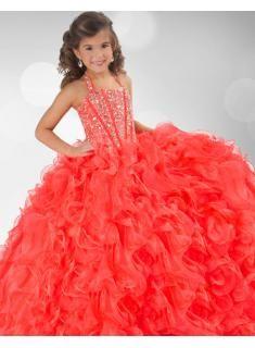 27dress 2013 Sexy Organza Ball Gown Layers Halter Beads Crystals Little Girls Pageant Dressesat 27dress.com