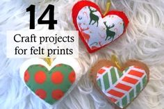 14 craft projects for felt prints. | ~American Felt & Craft ~ Blog Felt Crafts, Craft Projects, My Favorite Things, American, Prints, How To Make, Blog, Blogging, Felting