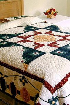 Blooming log cabin quilt