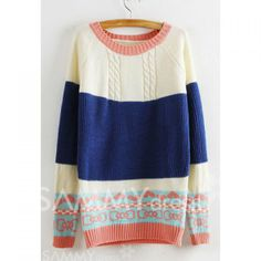 Vintage Round Collar Color Matching Printing Long Sleeves Sweater For Women