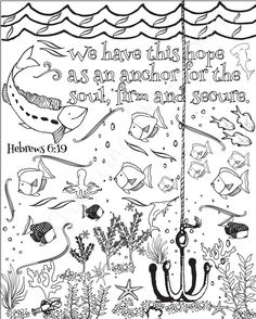 This is an instant download file of our print: Set of 5 coloring pages. Bible verse coloring sheets. Beach and ocean theme. Included are: 1. In all your ways acknowledge Him and He shall direct your paths. Proverbs 3:6  2. Follow me and I will make you fishers of men. Matthew 4:19  3. We have this hope as an anchor for the soul, firm and secure. Hebrews 6:19  4. When you go through deep waters, I will be with you. Isaiah 43:2  5. As water reflects the face, so ones life reflects the heart…