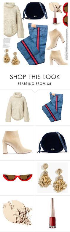 """Knit Sweater..."" by unamiradaatuarmario ❤ liked on Polyvore featuring Gucci, Stuart Weitzman, N°21, PAWAKA, J.Crew and Balmain"