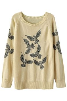 Casual Embroidered Eagle Knit Sweater