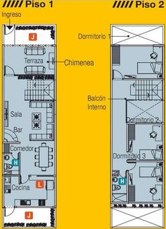 PLANO DE CASA DE 5m x 20m CON UN LOTE ADELANTE by planosdecasas.blogspot.com #cocinaspequeñasalargadas