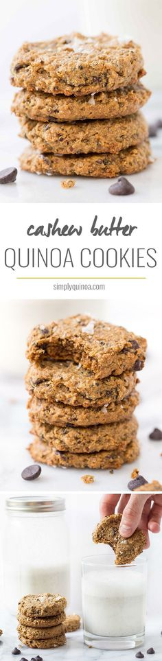 CASHEW QUINOA COOKIES -- healthy chocolate chip cookies made with a base of cashew butter + quinoa!