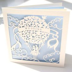 Hot air balloon wedding invitation from The Hummingbird Card Company