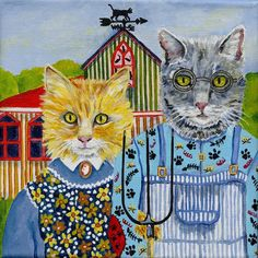 AMERICAN GOTHIC STYLE FOLK ART CAT PORTRAIT PAINTING FROM YOUR PHOTOS | eBay