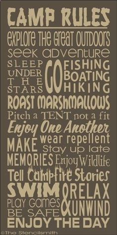 1724 - CAMP RULES-CAMP RULES stencil subway typography word art camping explore great outdoors fishing boating lake