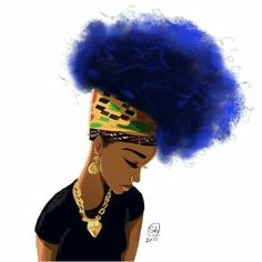 Hair African black and proud blue hair drawing art Afro black woman Black Girl Art, Black Women Art, Black Girls Rock, Black Girl Magic, Art Girl, Blue Hair Black Girl, Blue Natural Hair, Natural Hair Styles, Black Art Pictures