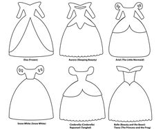 6 paper dress cutout templates for 8 Disney princess characters.
