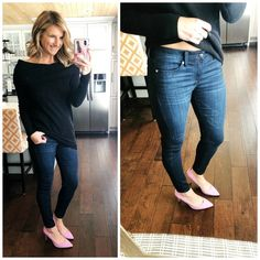 Off The Shoulder Top + Jeggings + Heels // Night Out Outfit #shopthelook #offtheshouldertop #jegging #heels #samedelman #girlsnightout