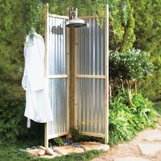 Image of an outdoor shower with corrugated metal walls : Outdoor Shower Fixture Design – Home Interior Furniture Outdoor Spaces, Outdoor Living, Outdoor Decor, Rustic Outdoor, Outside Showers, Outdoor Showers, Open Showers, Douche Design, Garden Shower