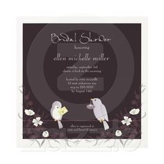 Lovebirds on Branches Garden Bridal Shower Personalized Announcements