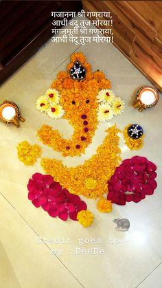 Ganesha& flower Rangoli Ganapati Flower Rangoli Ganesha the Ganpati Bappa # Rangoli Designs Flower, Rangoli Border Designs, Small Rangoli Design, Colorful Rangoli Designs, Rangoli Designs Images, Rangoli Designs Diwali, Flower Rangoli, Beautiful Rangoli Designs, Flower Designs