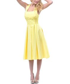 Love this Yellow Flirty Halter Dress - Women & Plus by Unique Vintage on #zulily! #zulilyfinds