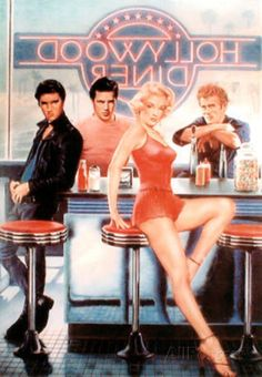 Marilyn Monroe and James Dean | Hollywood Diner Marilyn Monroe James Dean Elvis Presley Art Print ...