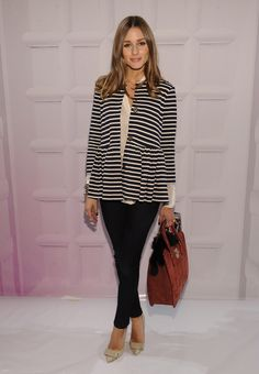 Olivia Palermo. Stripes, sheer top, bow high heels, great neutral bag!