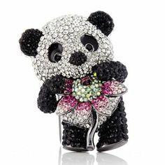Butler Wilson Crystal Panda Brooch
