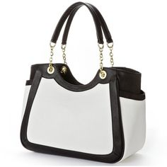 Mondani Katy Contrast Satchel ($32) ❤ liked on Polyvore featuring bags, handbags, faux leather purses, faux leather satchel, black white handbag, satchel handbags and black and white handbags