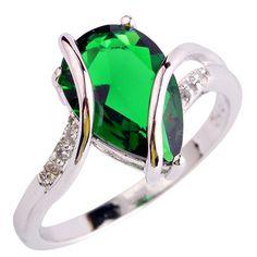 Water Drop  Elegant Green Emerald Quartz Fashion 925 Silver Ring