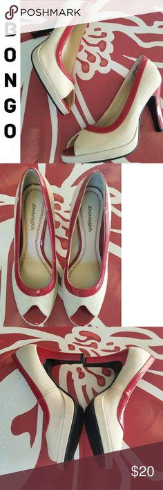 fa486ea83dea Bongo Linen Platform Heels with Red Trim Heel These sophisticated tan Bongo  linen platform heels