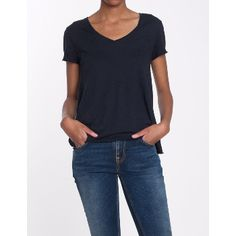 American Vintage Navy V Neck Tee: Fab short sleeved Jac 51 t-shirt by American Vintage, perfect to layer or wear on it's own.