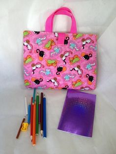 Activity Carry Busy Bag in pink playful kitten Fabric with 5 ziplock plastic pouches by RectoryCrafts on Etsy