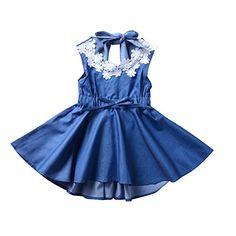 87779df8aea Summer Baby Princess Lace A-Line Dress Girl Bowknot Backless Sleeveless  Sundress