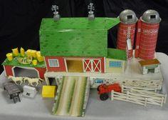 Marx Happi Time Farm Barn with Base Silos Ramp Playset Vintage 1950s 3 Story #Marx