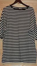 MARIMEKKO COTTON TUNIC DRESS STRIPED WHITE /BLACK SZ L FINLAND