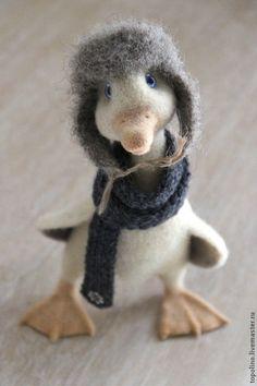 Гусь Дарио - белый,гусь игрушка,валяный гусь,Сухое валяние,валяная игрушка