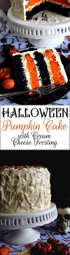 Halloween Pumpkin Cake with Cream Cheese Frosting - What's Halloween without black and orange? This cake, although simple to make, looks super impressive. Halloween Pumpkin Cake with Cream Cheese Frosting will surely impress all of your favourite little Halloween Desserts, Halloween Food For Party, Halloween Treats, Halloween Kitchen, Halloween Foods, Halloween Recipe, Halloween Cupcakes, Halloween Pumpkins, Köstliche Desserts