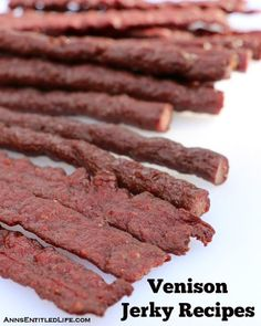 Recipes for making venison jerky (deer meat jerky) with step by step instructions.or maybe grass fed beef jerky? Smoker Jerky Recipes, Venison Jerky Recipe, Venison Recipes, Roast Brisket, Beef Tenderloin, Pork Roast, Venison Snack Stick Recipe, Recipe Recipe, Beef Jerky