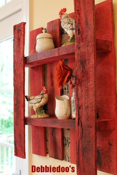 DIY-No Cost ! Pallet Shelf With Burlap and Chicken Wire on the Back. step by step tutorial by @Debbiedoo's