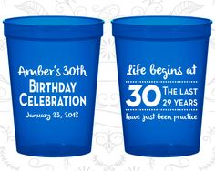30th Party Favor Cups, Birthday Celebration, Life begins at 30, Party Favor Cups, Fun Birthday Cups (20019)