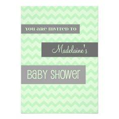 Mint Grey Chevron Custom Baby Shower Invitations