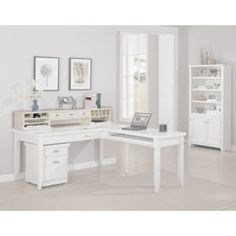 Kathy Ireland Home by Martin Furniture Tribeca Loft White Long Reception Desk Hutch with 3 Drawers