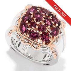 160-996 - Gems en Vogue 2.30ctw Multi Shape Pink Tourmaline Cluster Ring