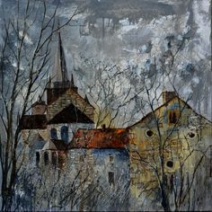 Romanesque church in Belgium, painting by artist ledent pol