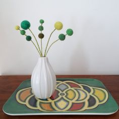 Green felt flowers - Clover, shamrock -  Wool pom pom floral decoration - Faux flowers - Small centerpiece -  Pompom flowers - Emerald Green by berryisland on Etsy