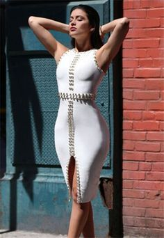 Gorgeous white embellished bandage dress, accented with gold tone metal rings featuring a front split. Cheap Dresses, Sexy Dresses, Casual Dresses, Fashion Dresses, Beautiful Dresses, Women's Fashion, Embellished Dress, Sequin Dress, Bodycon Dress