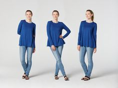 A simple, easy-to-make, long sleeve top for every occasion. We made this pattern with comfort in mind, it is loose fitting and flares slightly at