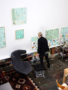 Artist Fred Fowler in his Footscray studio. Photo – Sean Fennessy for The Design Files.