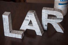 Letras 3D - Passo a passo de como fazer Do It Yourself Projects, Cool Diy Projects, Make It Yourself, Alphabet Templates, Diy Letters, Diy Cardboard, Diys, Diy Party, Diy Design