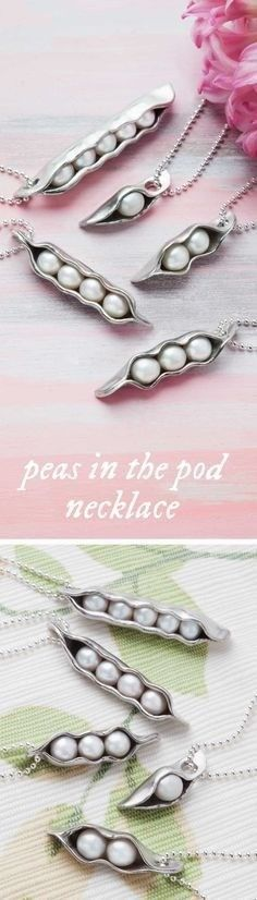 "This peas in a pod necklace, discovered by The Grommet, is made with freshwater pearls as the ""peas"" enclosed in a hand-sculpted pewter pod."