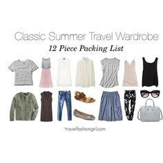 Sample 12 piece packing list and capsule wardrobe set for travel in the summer