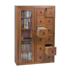 Leslie Dame Enterprises Library Style 12 Drawer Multimedia Cabinet - Walmart.com