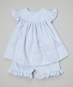 This Blue Seersucker Top & Bloomers - Infant & Girls by Barefoot Children's Clothing is perfect! #zulilyfinds